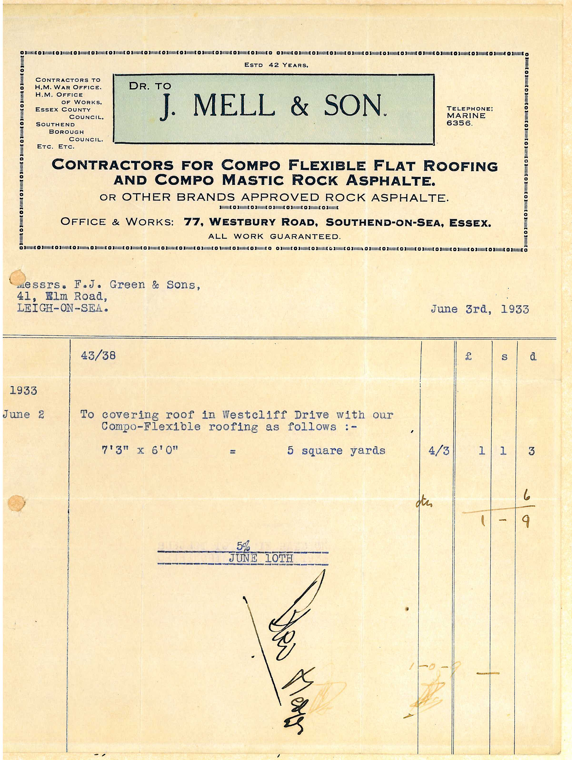 mells invoice 1933 mells roofing flat roofing essex flat mells invoice 1933 mells roofing flat roofing essex flat roofing east anglia flat roof repair